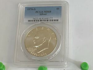 "1976-S $1 Eisenhower Ike PCGS MS68 ""SILVER"" - BRIGHT!!!"
