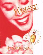 PUBLICITE ADVERTISING 084  1996  YVES SAINT LAURENT  eau de toilette YVRESSE