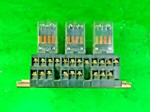 Three relays mounted DIN Rail 5A 4 POLE 24 Volt Coil 120 x 75 x 70mm OMRON MY4