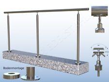 2 m Edelstahlgeländer für Treppe mit 3 Pfosten 200cm VA