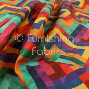 Colourful Geometric Chevron Lock Pattern Velour Velvet Print Upholstery Fabric