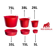 RED Red Gorilla Tub Trug Flexible Storage Carrying Bucket Feeding Water Garden