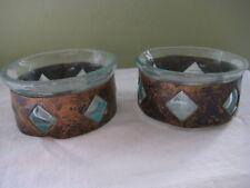 2 Teelichthalter Kerzenhalter Glas und Metall rund für Teelicht ANTIK Stil