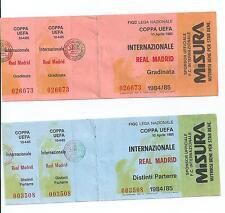 INTER FC DUE BIGLIETTI ORIGINALI GARA INTER - REAL MADRID 10 APRILE 1985 INTATTI