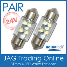 2 x 24V 31mm 4-LED FESTOON INTERIOR LIGHT BULBS/GLOBES WHITE - Truck/Caravan/RV