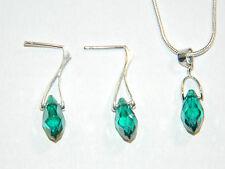 Elegante Verde Smeraldo AB Set Gioielli Orecchini A Goccia Borchie & Collana