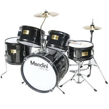 MENDINI BLACK 5-PC CHILD JUNIOR JR. DRUM SET KIT +STICK+THRONE+CYMBL