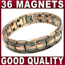 Gents MAGNETIC BRACELET 36 strong magnets bangle in antique copper therapy Mens