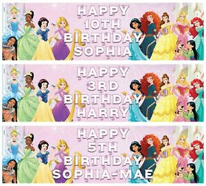 2 x Personalised DISNEY PRINCESS Birthday Banners ANY NAME, ANY AGE
