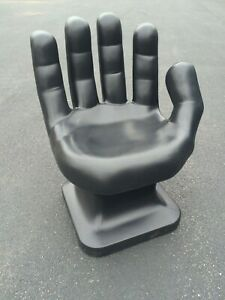 """GIANT Black right HAND SHAPED CHAIR 32"""" tall adult 70s Retro EAMES iCarly NEW"""
