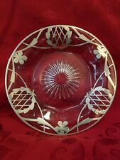 Antique Sterling Silver Floral Thistle Overlay Starburst Crystal/Glass Plate 7""