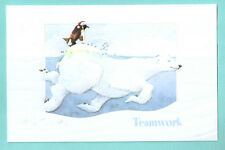 Polar Bear Penguin Santa Hat Embossed Christmas Cards Box of 16 Teamwork