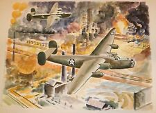 B-24 Liberator Planes Bombing Ploesti Oil Fields Painting-World War Two-Winarsky