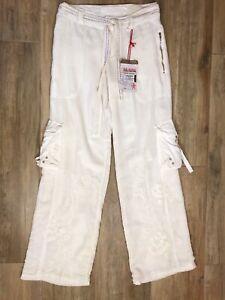 NWT Da-Nang Cargo Pants Cotton Embroidered Beaded Belt Pockets White Sz M *read