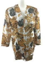 Lady Carol VTG Open Jacket Floral Oriental Yellow Black White Long Sleeve SZ 8
