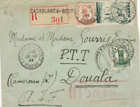 French Morocco, Scott #169,181,194 on 1945 Registered Cover to Douala, Cameroon