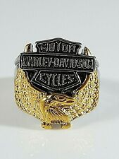 Stainless Steel Harley Davidson Golden Eagle Ring Size 10