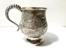 1826 Repousse George IV - JOHN FRY II Silver Christening Mug HUNTING SCENE #2343