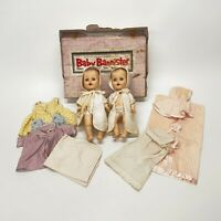 "Pair 1950s Sun Rubber Constance Baby Bannister 12"" Dolls Extra Clothing & Box"