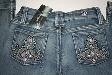 Papaya Jeans Boot Cut Denim Pink Rhinestone Studded Pockets  Size 1