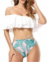 Dixperfect Women's High Waisted Bikini Set Off Shoulder, White, Size Medium bSq8