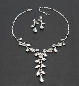 Schmuckset Blumen Collier Silberfarben Ohrringe Modeschmuck klar Strass Party