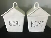 """Rae Dunn """"BLESSED"""" """"HOME"""" House Birdhouse Cookie Jar Canister Artisan Collection"""