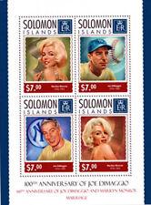 Solomon Islands 2014 DiMaggio and Monroe Tribute 4 Stamp Sheet 19M-437