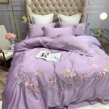 Luxury Flowers Embroidery Egyptian Cotton Cover Bed Fitted Sheet Bedding Set