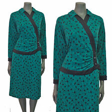 Vintage 80s Green Black Spotty Print Wrap Crossover Peplum Secretary Dress 14 16