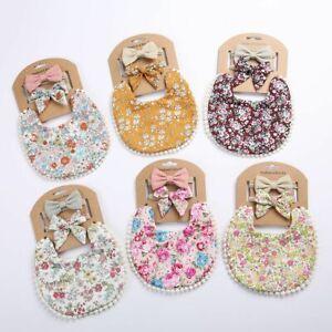 3Pcs Baby Tassel Headbands Floral Print Newborn Bandana Double Side Bibs Feeding