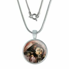 """Yorkie Yorkshire Terrier Dogs Suitcase 0.75"""" Pendant w/ Silver Plated Chain"""