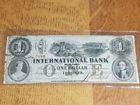 ➡➡1858 SCARCE International Bank of Canada $1 Chartered Note (Toronto) SN B7199