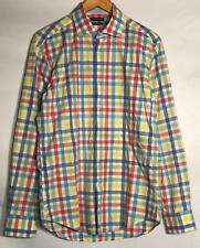 Tailorbyrd Shirt Mens 15-1/2 34/35 Flip Cuff Plaid Blue Red Yellow Green