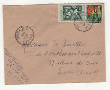 2 timbres sur lettre 1959 tampon Côte-d'Ivoire Daloa /L249