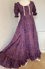 Vintage Paisley Tie Back Lace Trim Victorian Prairie Long Dress Laura Ashley?