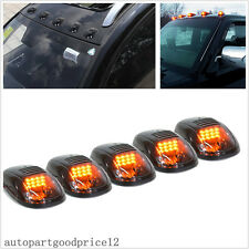 5Pcs Smoked Lens Cab Roof Top Amber LED Running Lights For SUV Offroad Truck 4x4