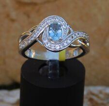 SANTA MARIA Aquamarine & Zircon RING Platinum/Silver Size 7 TGW .70