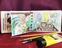 original artist's sketchbook hand painted illustrations with collage