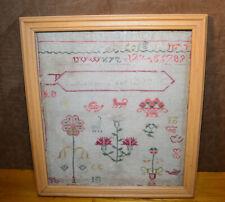 Antique Sampler Needlework Alphabet Numbers 19th Century Framed Hand Stitched