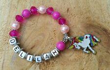 Girls Ladies Personalised Name Rainbow UNICORN Charm Pony PINK Bead Bracelet