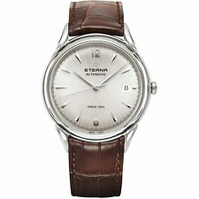 Eterna Men's 2955.41.13.1387 Heritage 40mm Automatic Silver Dial Leather Watch