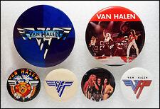 Van Halen Lot Of 6 70's 80's Buttons Pins Badges Eddie David Lee Roth