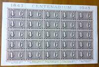 EBS Switzerland 1943 - Centenary of Swiss Stamps - Michel 416 FULL SHEET MNH**