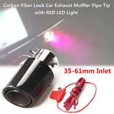 "35-61mm 2.5"" Inlet Carbon Fiber Look Car Exhaust Muffler Pipe Tip RED LED Light"