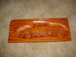 VINTAGE CADILLAC HAND CARVED WOOD SIGN, CARVERS COUNTRY COLLECTION, CAR, AUTO