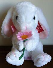RUSS Berrie White Bunny Rabbit Soft Plush Toy With Flower Medium Called Hoppity