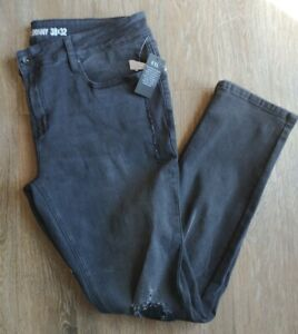Hot Topic HT Denim Men's Skinny Jeans Size 38x32. Distressed black jeans