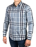 Authentic BURBERRY BRIT men's gray cotton checkered nova check shirt | Size M