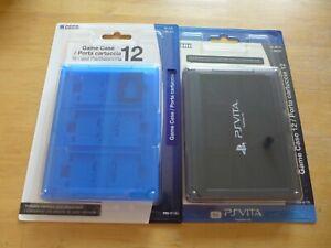 Set of Black & Blue Original HORI Holders PlayStation PS Vita Game Card Case 12